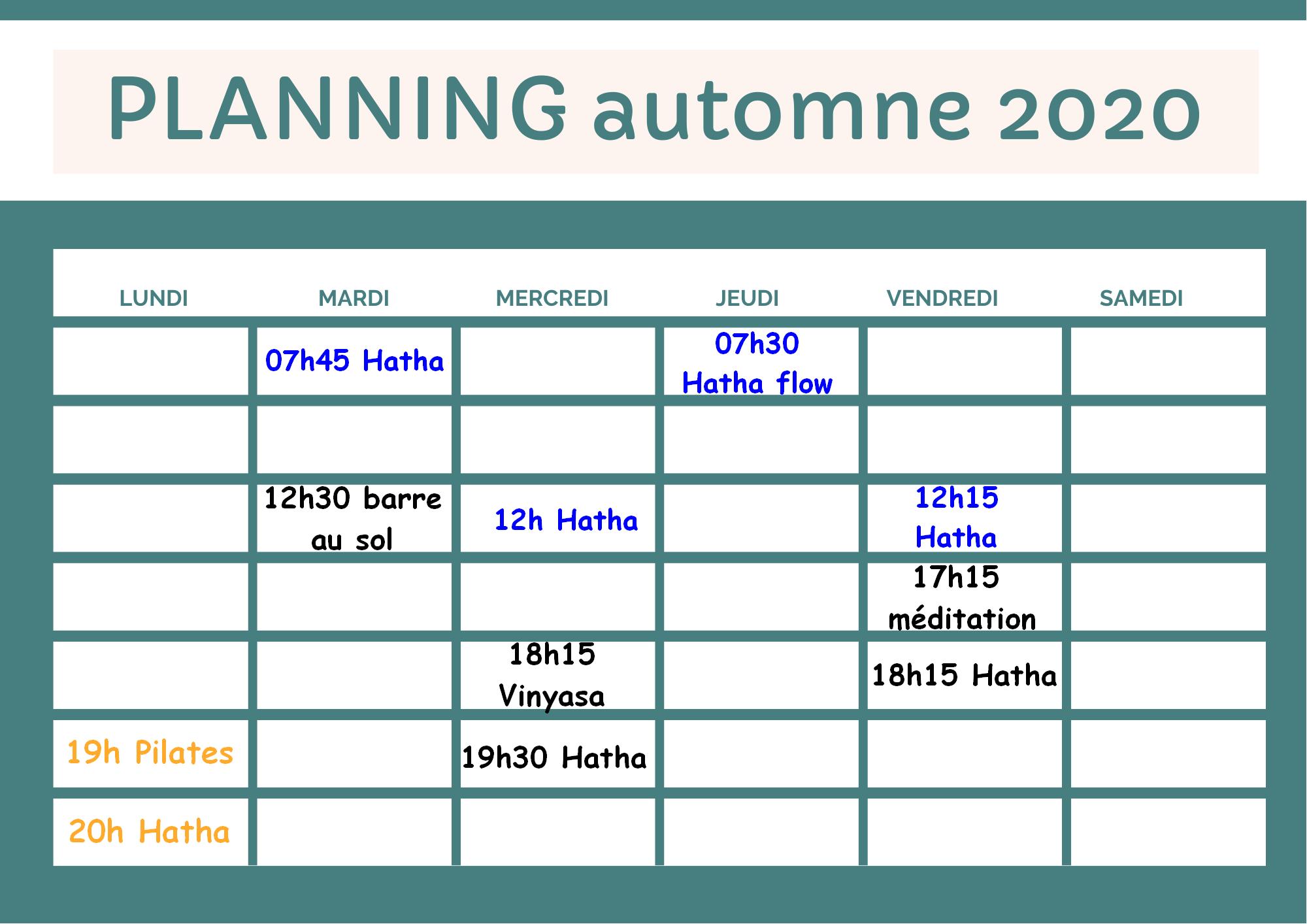 planning automne